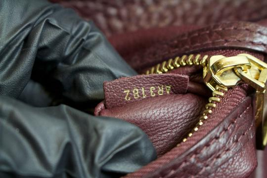 Louis Vuitton Ostrich Bordeaux Mm Lizard Tote in Burgandy/Monogram Brown