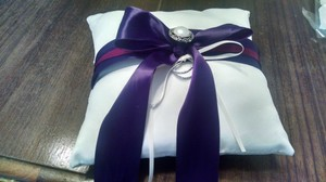 White and Purple Ring Bearer Pillow
