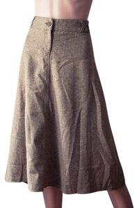 H&M Rockabilly Hipster Business Maxi Skirt beige and brown tweed