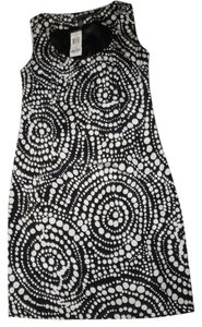 INC International Concepts short dress Black and White Scope Dot pattern Silk on Tradesy