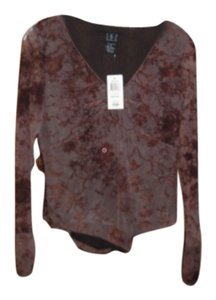 INC International Concepts Top Burgandy Ditsyflocked