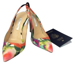 Oscar de la Renta Green, Pink, orange, lime red Pumps