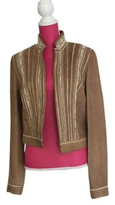 Elie Tahari Camel/white embroidery Leather Jacket