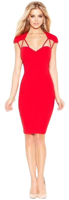Item - Red Cap-sleeve Strappy Short Cocktail Dress Size 2 (XS)