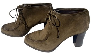 Diane von Furstenberg Suede High Heels Work Oxford Sage Green Boots