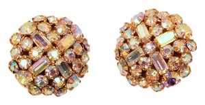 Other Vintage 50's Aurora Borealis cluster clip earrings baguette round AB rhinestones