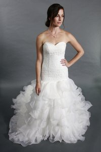 Sweetheart Lace Top Organza Layered Chapel Train Wedding Dress Wedding Dress