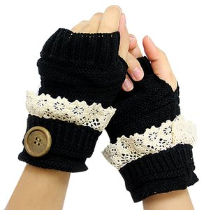 Black Lace Trim Buttoned Fingerless Thumb Hole Arm Warmer Gloves