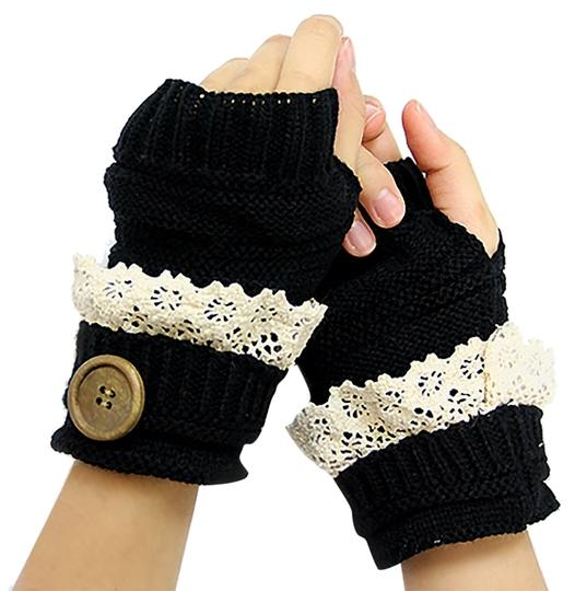 Other Black Lace Trim Buttoned Fingerless Thumb Hole Arm Warmer Gloves