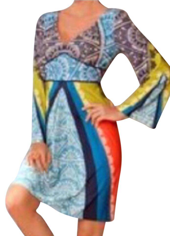 Boston Proper Short Dress Multi Color New With Tags Above The Knee Side Zipper Kimino Sleeve