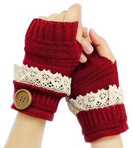 Red Beige Lace Trim Buttoned Fingerless Thumb Hole Arm Warmer Gloves