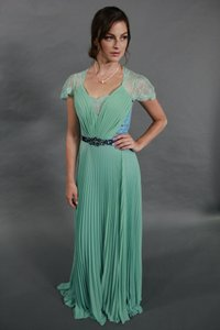 Green Elegant Lace V-neck See Through Back Chiffon Evening Prom Dress Dress