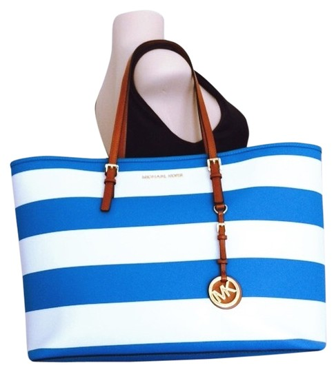 f8786f92d0c0 Michael Kors Jet Set Travel Striped Summer Blue and White Leather ...