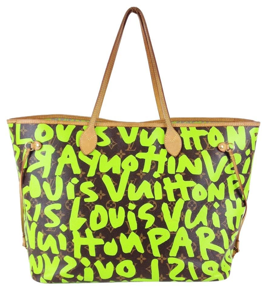 6165aa71bbaa Louis Vuitton Neverfull Stephen Sprouse Limited Edition Graffiti Gm Brown    Green Canvas Tote