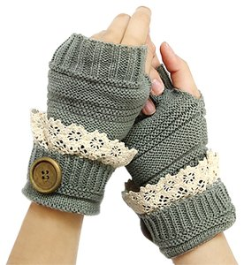 Gray Beige Lace Trim Buttoned Fingerless Thumb Hole Arm Warmer Gloves