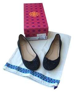 Tory Burch Crystals Black Flats