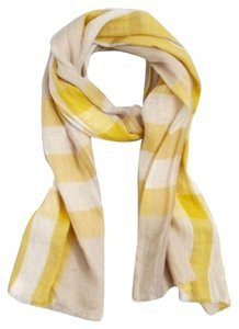Burberry Burberry Yellow Giant Check Linen Scarf New Without Tags