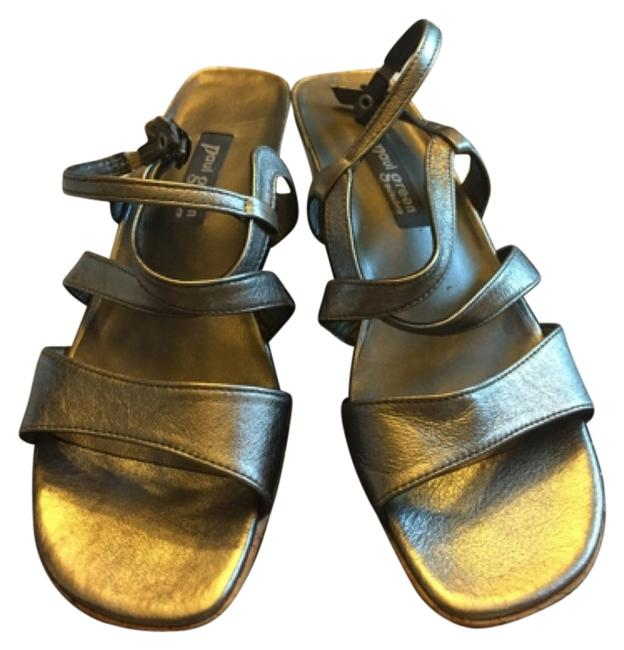 Item - Silver Strappy Leather Wedges Size US 8.5 Regular (M, B)