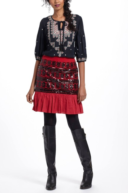 Anthropologie Sequin Skirt red