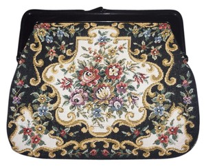Other Faux Needlepoint Tapestry Vintage Woven Tapestry Vintage Vintage Brocade Handbag Black Tapestry Clutch
