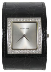 Michael Kors Michael Kors Black Crocodile Diamond Embellished Cuff Watch