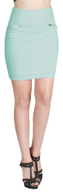 Nikibiki Textured Ponti Zipper Mint Gold Mini Skirt Green