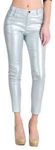Nikibiki Gray Metallic Pants Stretch Skinny Jeans-Coated