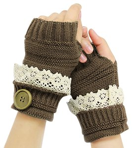 Other Brown Beige Lace Trim Buttoned Fingerless Thumb Hole Arm Warmer Gloves