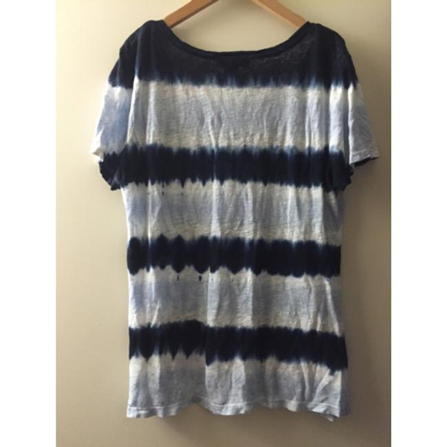 INC International Concepts Linen Tie Dye Eclectic T-shirt Casual Distressed T Shirt Blue/white