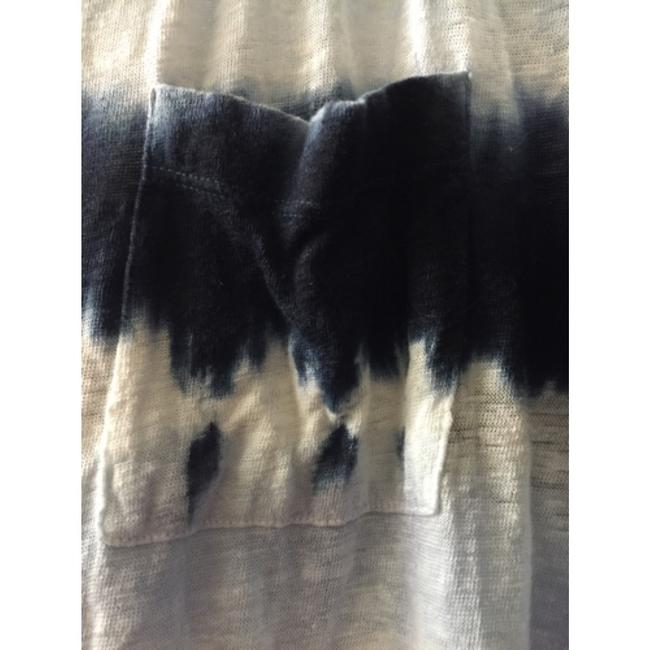 INC International Concepts Linen Tie Dye Eclectic Casual Distressed T Shirt Blue/white