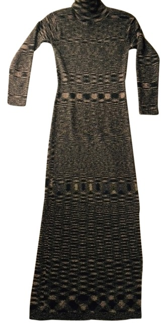 Item - Muted Beige -grey/Moschino Type Print Long Casual Maxi Dress Size 6 (S)