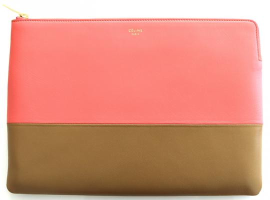 Céline Solo Pouch Bi Color Lambskin Leather Designer Bags Runway Flamingo Peach, Tan Clutch