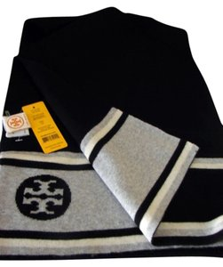 Tory Burch NWT TORY BURCH TWO TONE LOGO JACQUARD WOOL SCARF BLACK