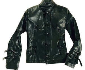 SAOPAULO Chic Metal Details BLACK FAUX LEATHER Leather Jacket
