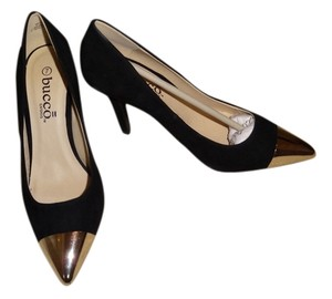 Bucco Sexy Classy Faux Suede Gold Toe Black Pumps