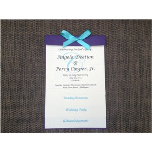 Set Of 50 Turquoise And Purple Layered Wedding Program