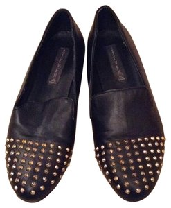 Steven by Steve Madden Loafer Faux Leather Gold Studded Black Flats