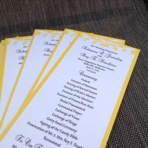 50 Panel Black And Yellow Wedding Programs
