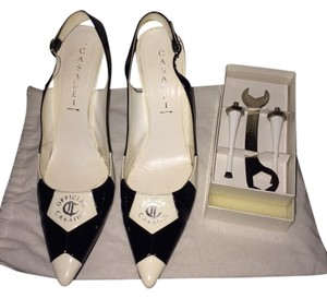 Casadei Patent Leather Black & White Pumps