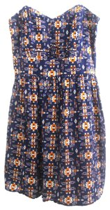 BeBop short dress Navy/Orange/White Navy Summer Geometric on Tradesy