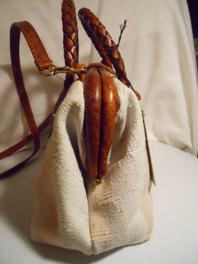 Marco Avane Cotton Leather Ostrich Satchel in Marco Avane ivory, peach & brown