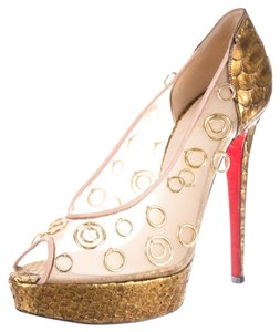 Christian Louboutin Leather Peep Toe Gold Pumps