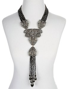 Heidi Daus Heidi Daus Big Large Jet Black Beaded Tassel Necklace SWAROVSKI CRYSTAL BRAND NEW RET $599.99