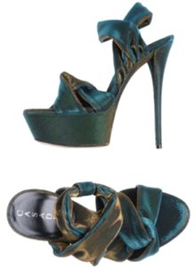 Casadei Blue and gold metallic Platforms