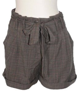 Anthropologie Pleated Plaid Dress Shorts gray