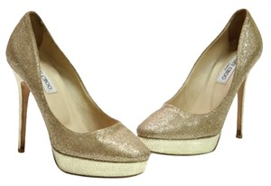 Jimmy Choo Glitter Metallic Gold Pumps
