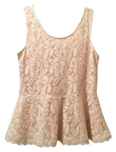 Comme Toi Peplum Lace Lace Trim Top Cream