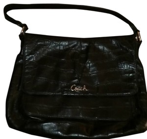 Coach Leather Snakeskin Shoulder Bag