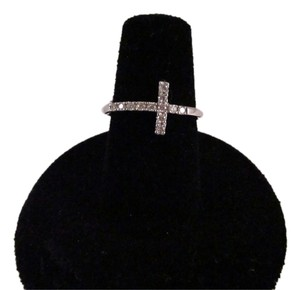 14K Solid White Gold Diamond Cross Ring