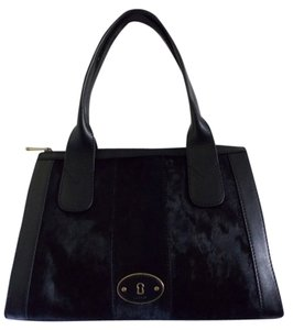 Fossil Pet And Smoke Free Calf Hair Satchel in Black